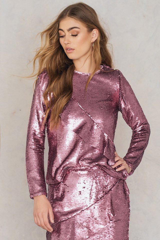 Frill Sequin Top Pink Sequin
