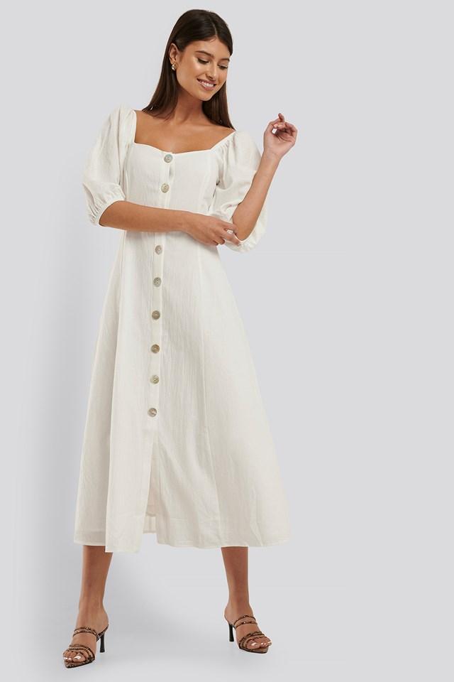 Puff Sleeve Button Down Midi Dress Offwhite