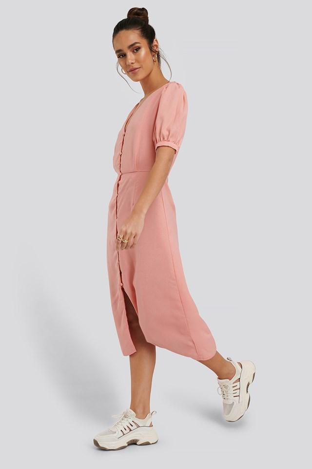 Short Sleeve Button Down Midi Dress Light Coral
