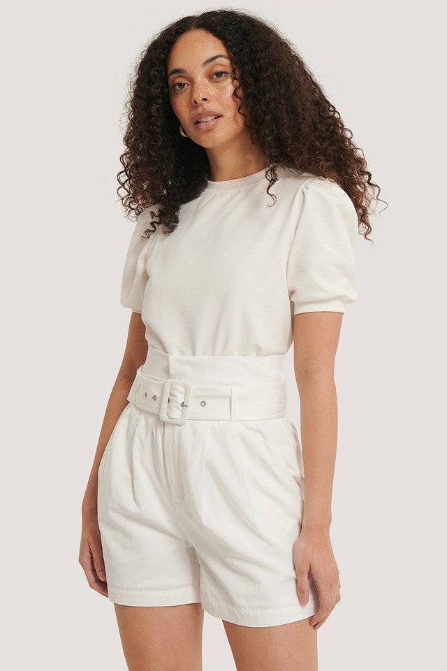 Belted High Waist Shorts Offwhite