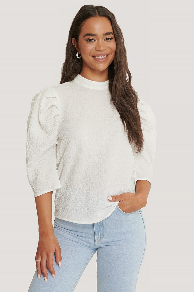 Textured Puff Sleeve Top White