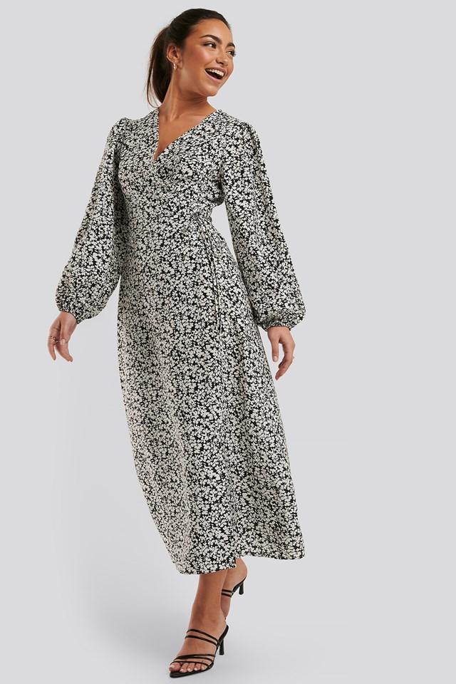 Puff Sleeve Wrap Dress Black/White