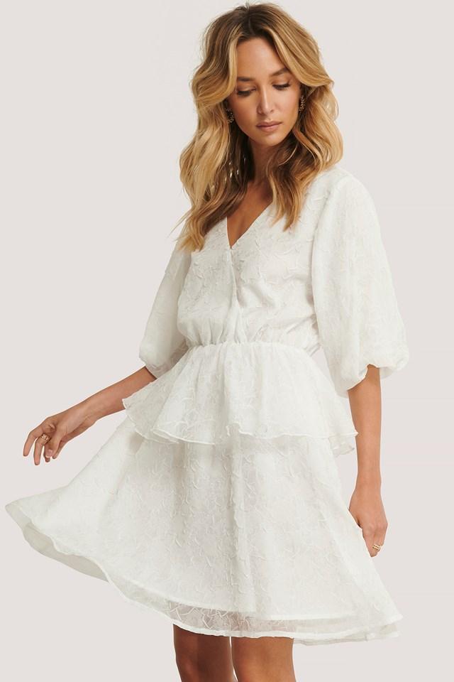 Flower Structured Overlap Dress White