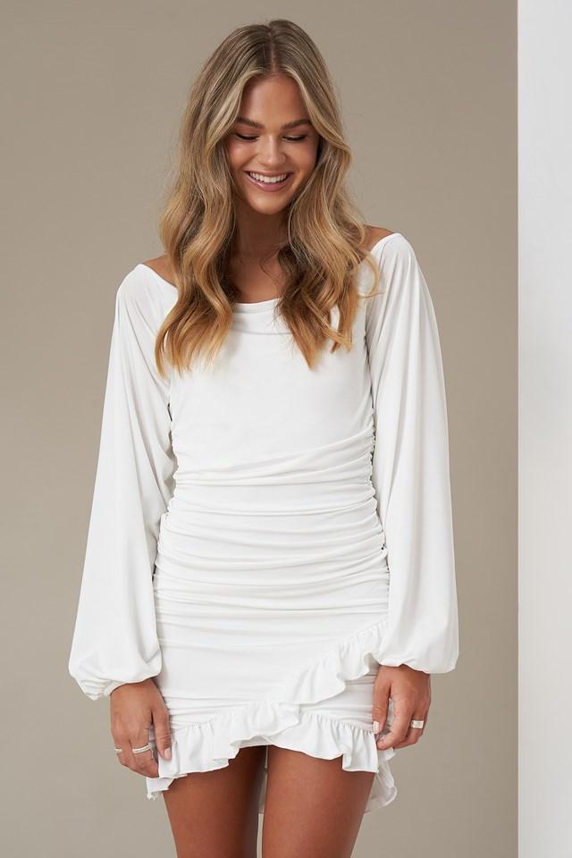 Balloon Sleeve Gathered Dress White