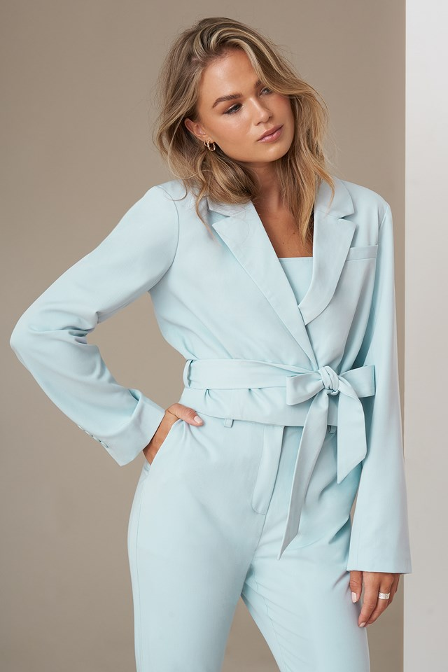 Cropped Blazer Light Blue