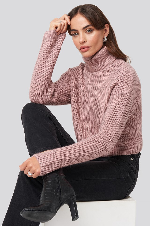 Folded Polo Neck Knitted Sweater Hannalicious x NA-KD