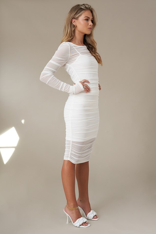 Gathered Dress White
