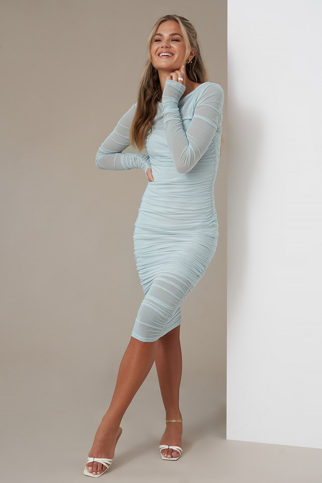 Gathered Dress Light Blue