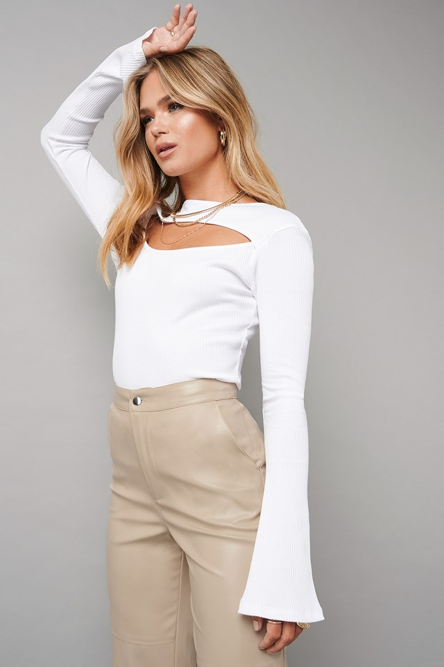 Cut Out Ribbed Top White