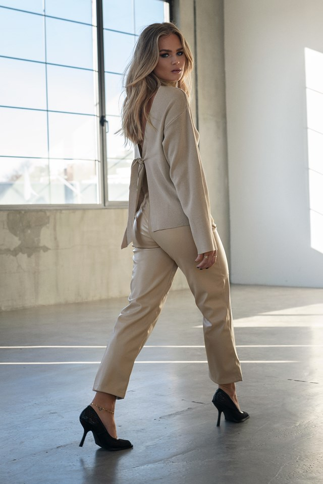 Straight Faux Leather Pants Beige