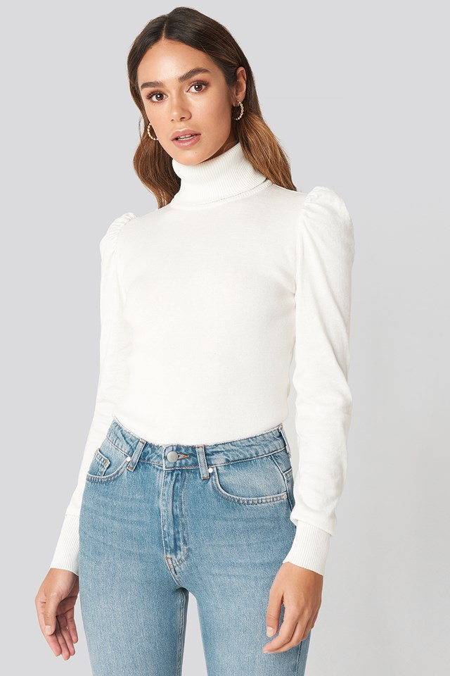 High Neck Puffy Shoulder Sweater White