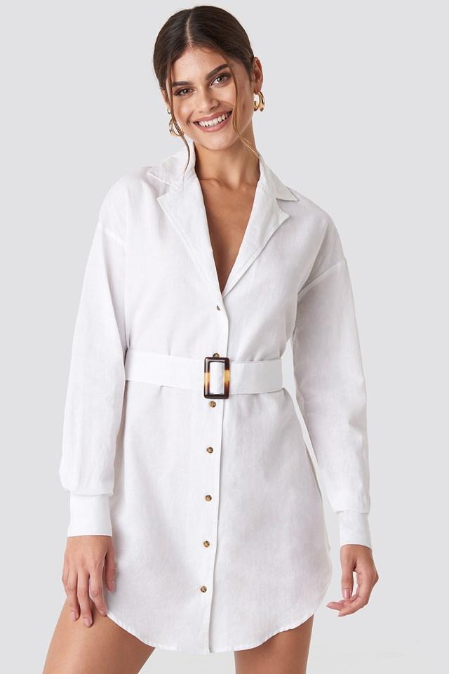 Belted Oversized Linen Look Shirt Dress Hannalicious x NA-KD