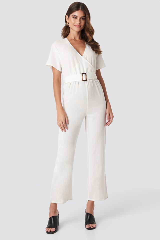 Overlapped Belted Linen Look Jumpsuit Hannalicious x NA-KD