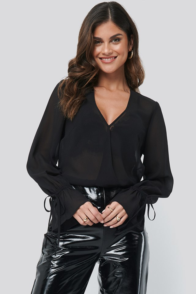 Sheer V-Neck Top Black