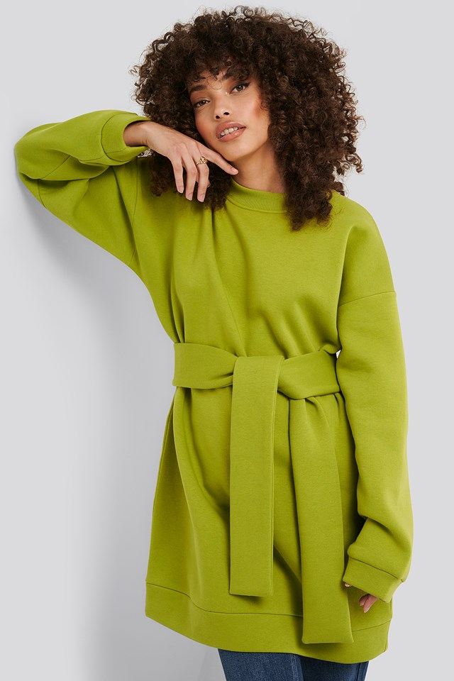 Oversized Waist Belt Sweater Green