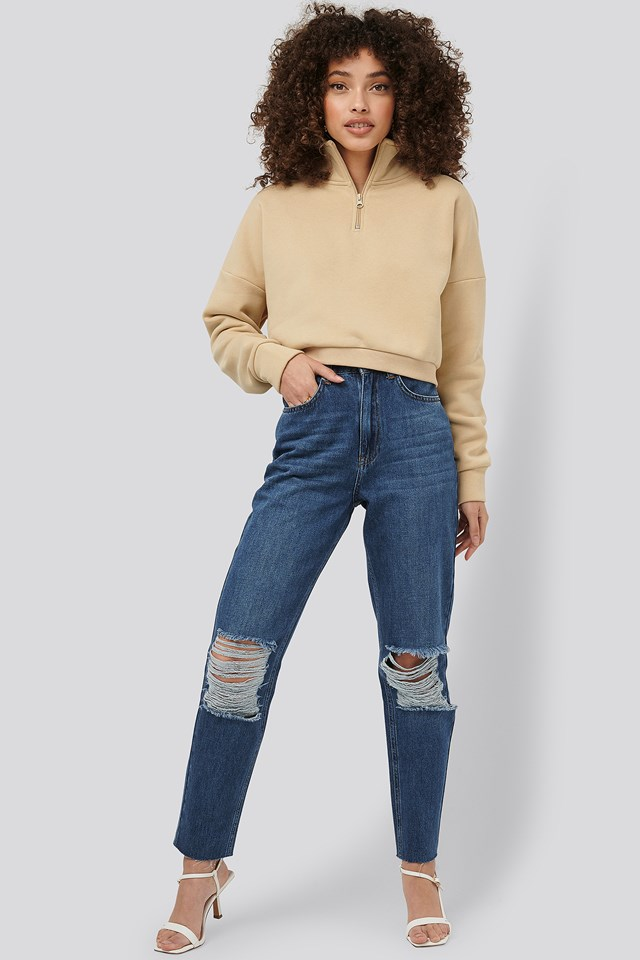 Ripped Knee Mom Fit Jeans Mid Blue