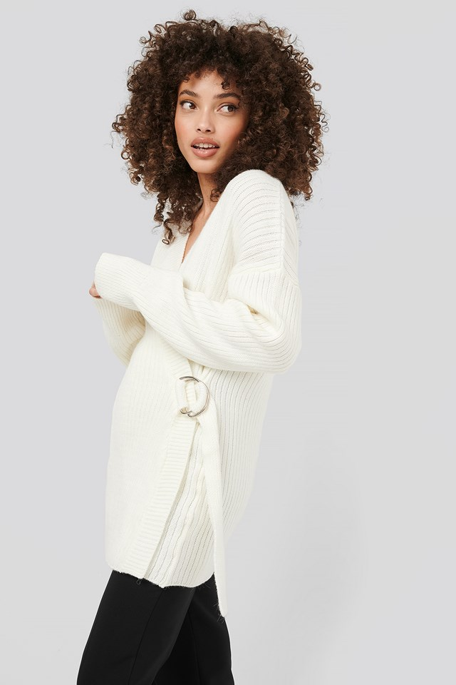 Ribbed Knitted Cardigan White