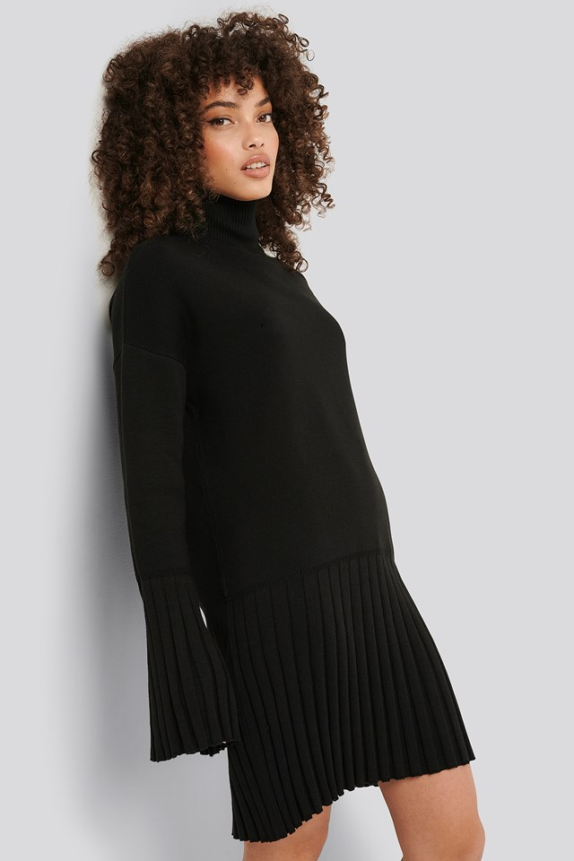 Wide Sleeve Knitted Dress Black