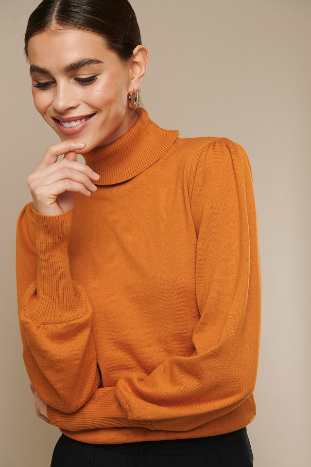 High Neck Puff Sleeve Sweater Orange