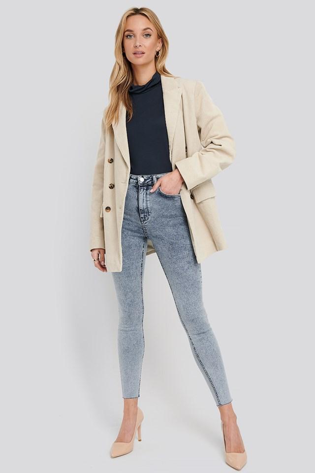 High Waist Raw Hem Skinny Jeans Blue