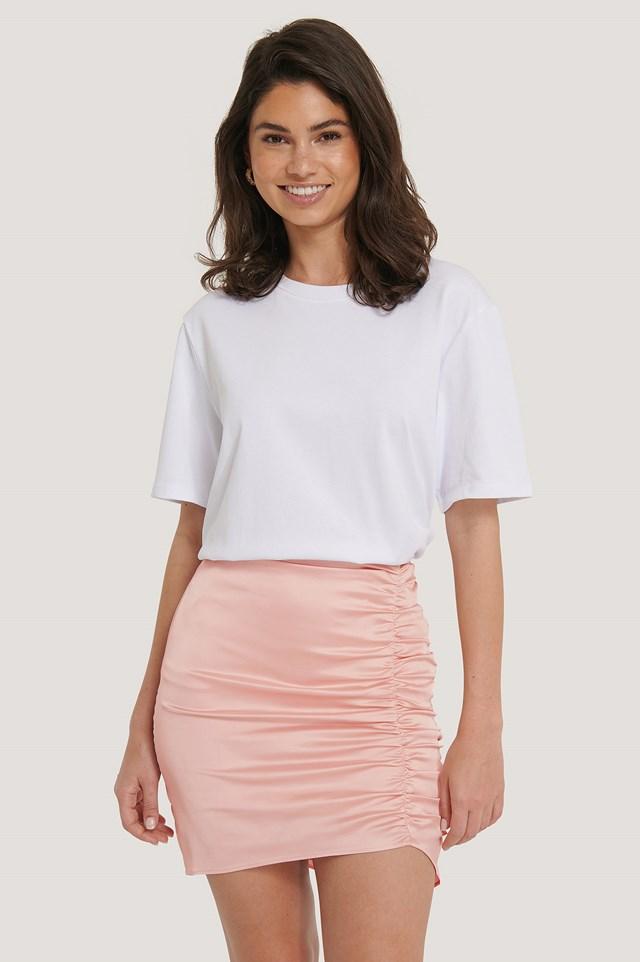 Asymmetric Mini Skirt Peach Blush