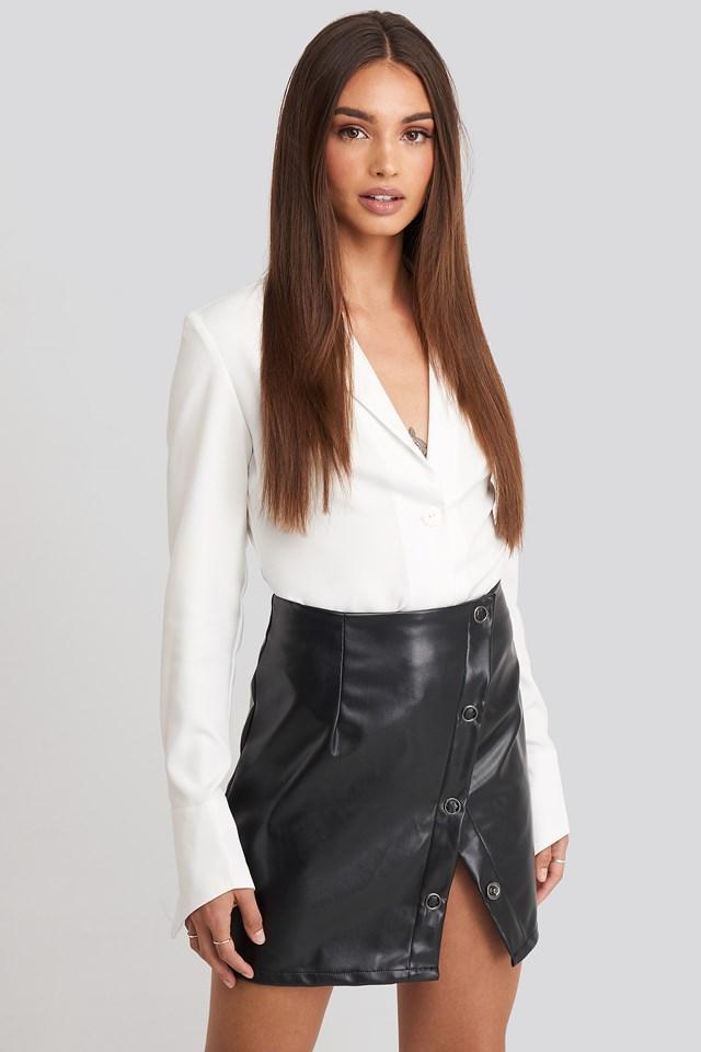 Buttoned Wrap Skirt Black