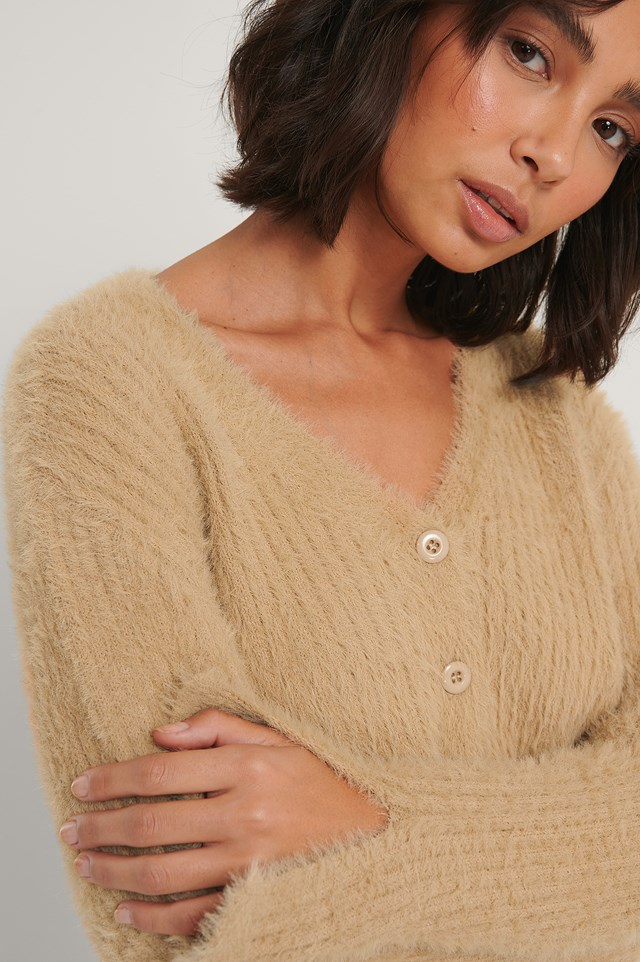 Cropped Knitted Cardigan Sand