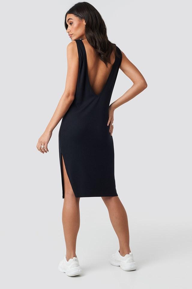Deep V Back Relaxed Dress Black