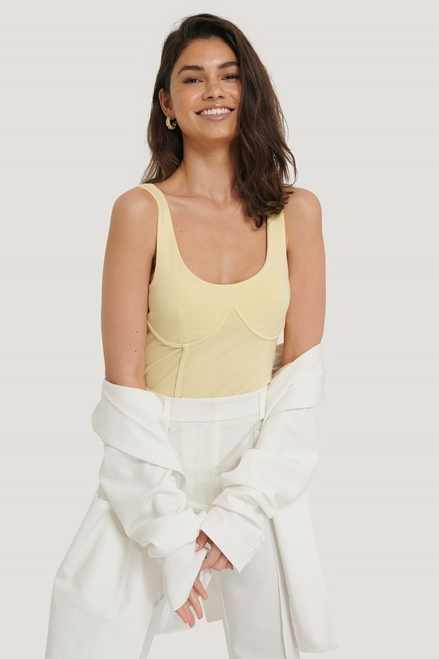 Detailed Cup Singlet Light Yellow/Cream