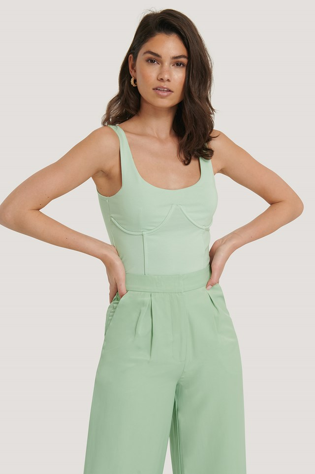 Detailed Cup Singlet Pastel Green