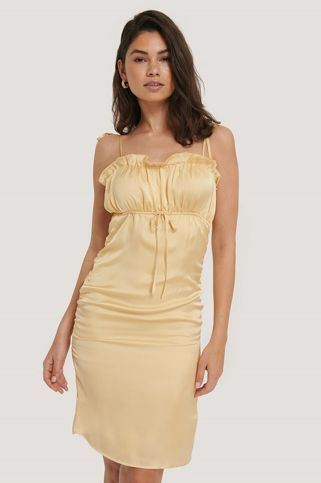 Drawstring Detail Dress Light Yellow/Cream