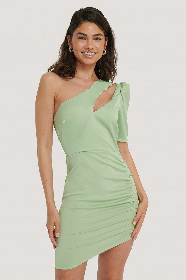 Front Cut Out Dress Pastel Green