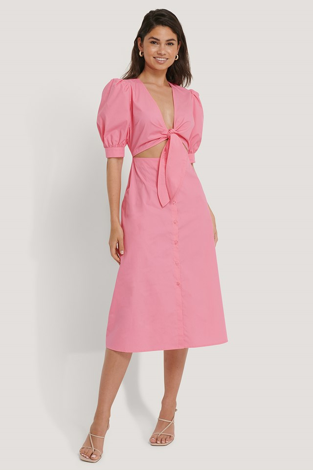 Front Twist Dress Pink