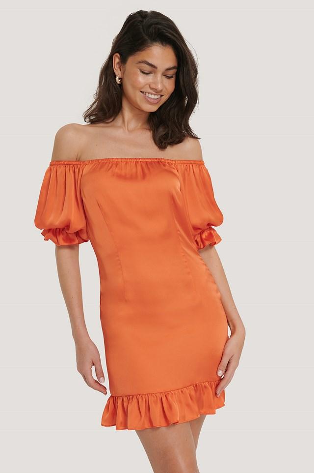 Off Shoulder Puffy Sleeve Dress Burnt Orange