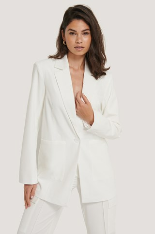 White Padded Oversized Blazer