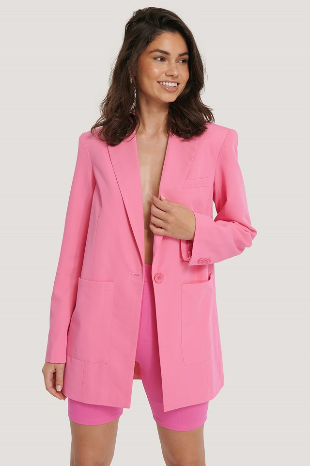 Padded Oversized Blazer Pink