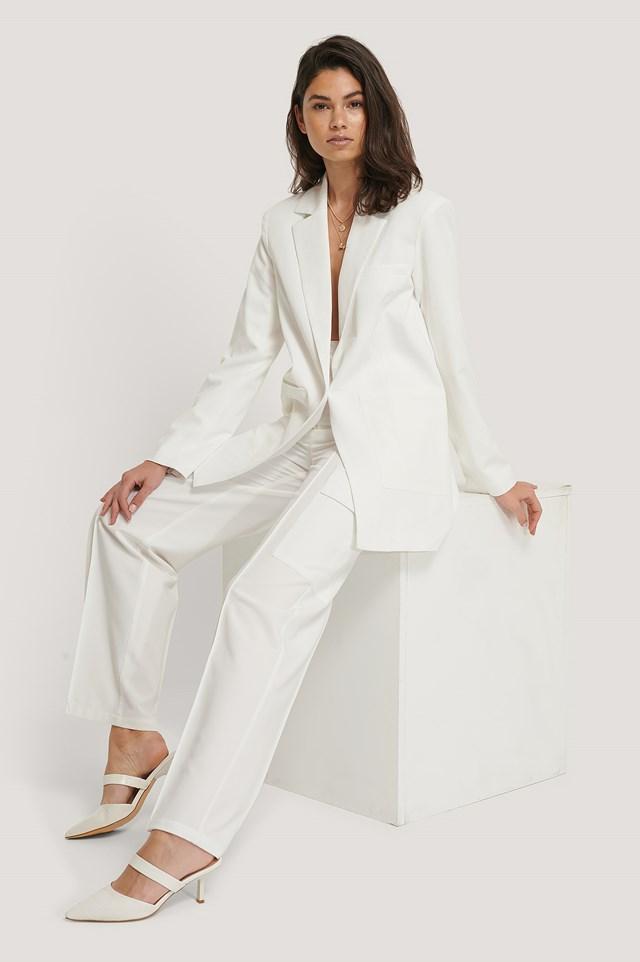 Pointed Toe Slip Ins White
