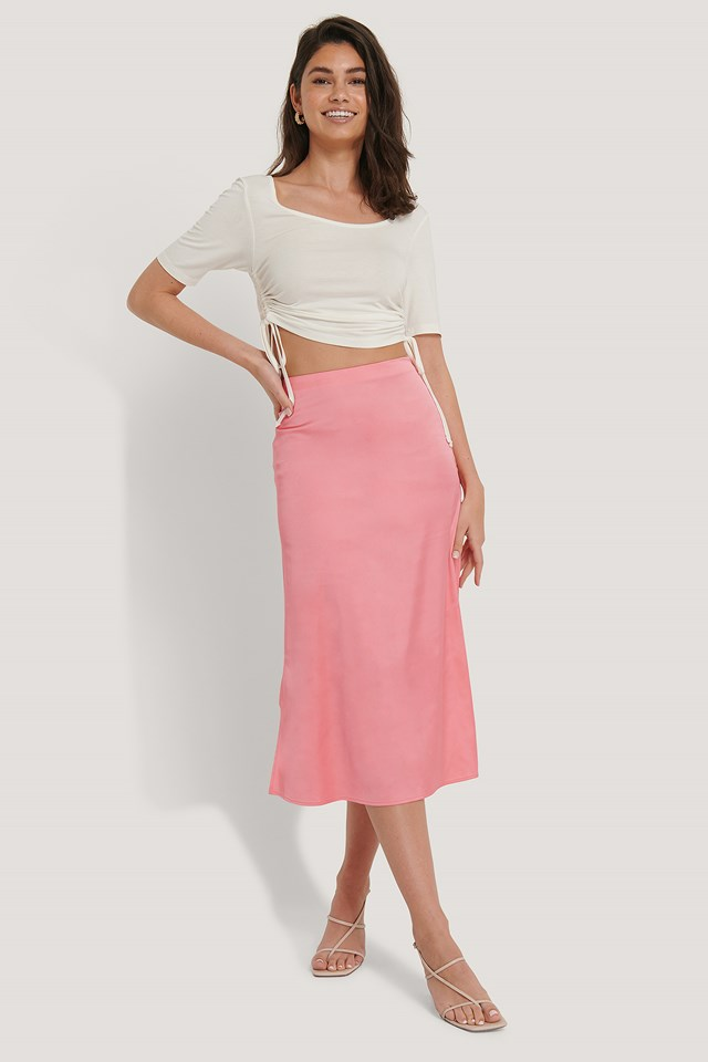 Satin Skirt Pink