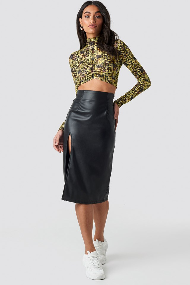 Slit Detail PU Skirt Black