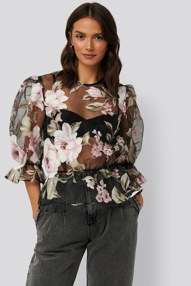 Orlando Top Black/Flower Print
