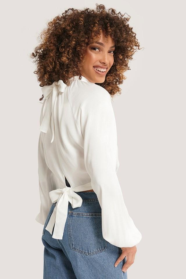Tie Back Blouse White