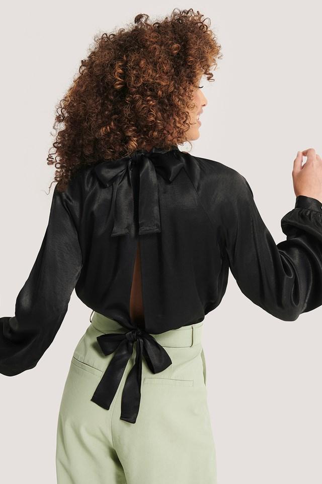 Tie Back Blouse Black