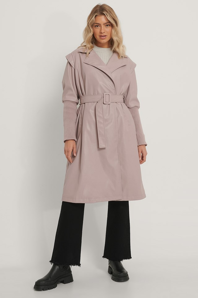 Faux Leather Coat Old Pink