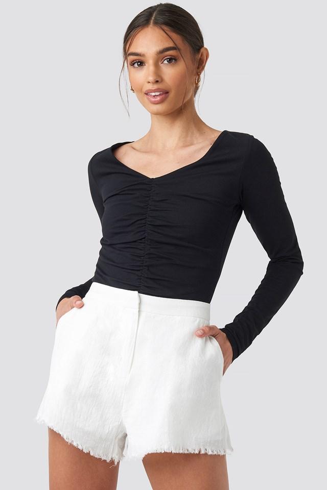 Linen Look Shorts White