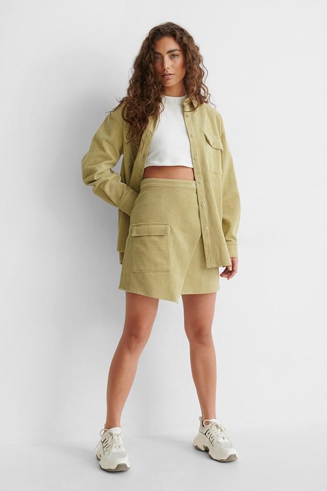 Corduroy Mini Skirt Beige/Khaki