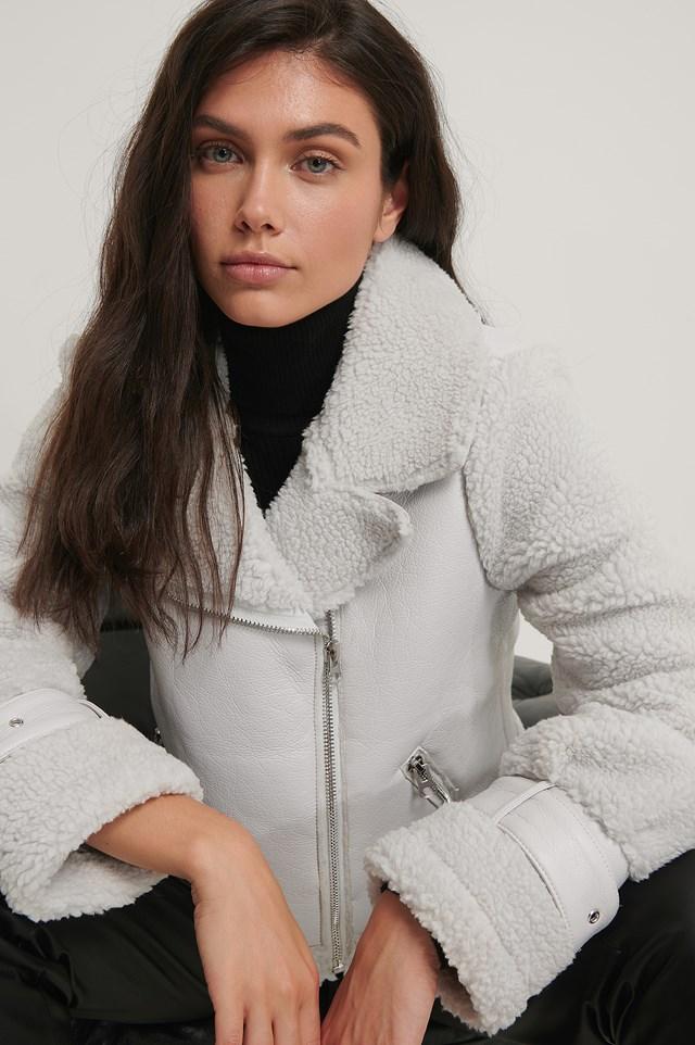 Faux Fur Detail Biker Jacket Grey