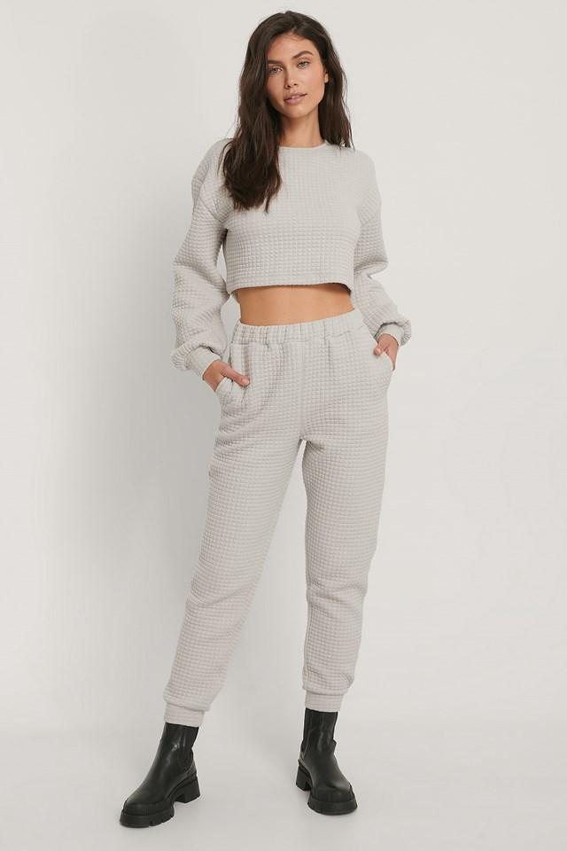 Structured Sweatpants Light Grey