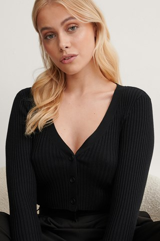 Black Ribbed Cropped Cardigan