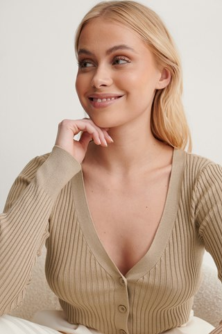 Beige Ribbed Cropped Cardigan