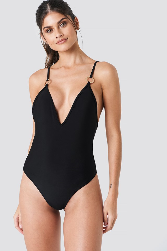 Deep Neck Swimsuit Black